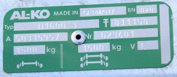 Aksel med bremser AL-KO 1260 mm 1500 kg 5 x 112 mm