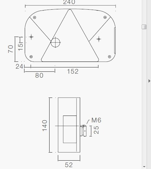 Baglygteglas venstre Multipoint II Aspock